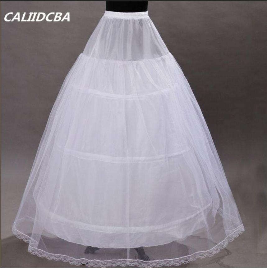 White/Black 3 Hoops 1 Layer Bridal Petticoat Lace Trim Underskirt Crinoline Slip Petticoat For Wedding Dress Prom Bridal Gown
