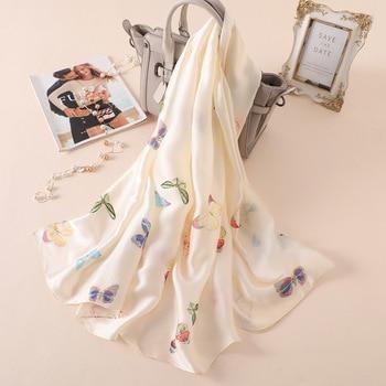 цена Colour Butterfly Printed Silk Scarf Female Solid Colour Sunscreen Shawl Female Summer New Silk Satin White Printed Gauze Towel онлайн в 2017 году