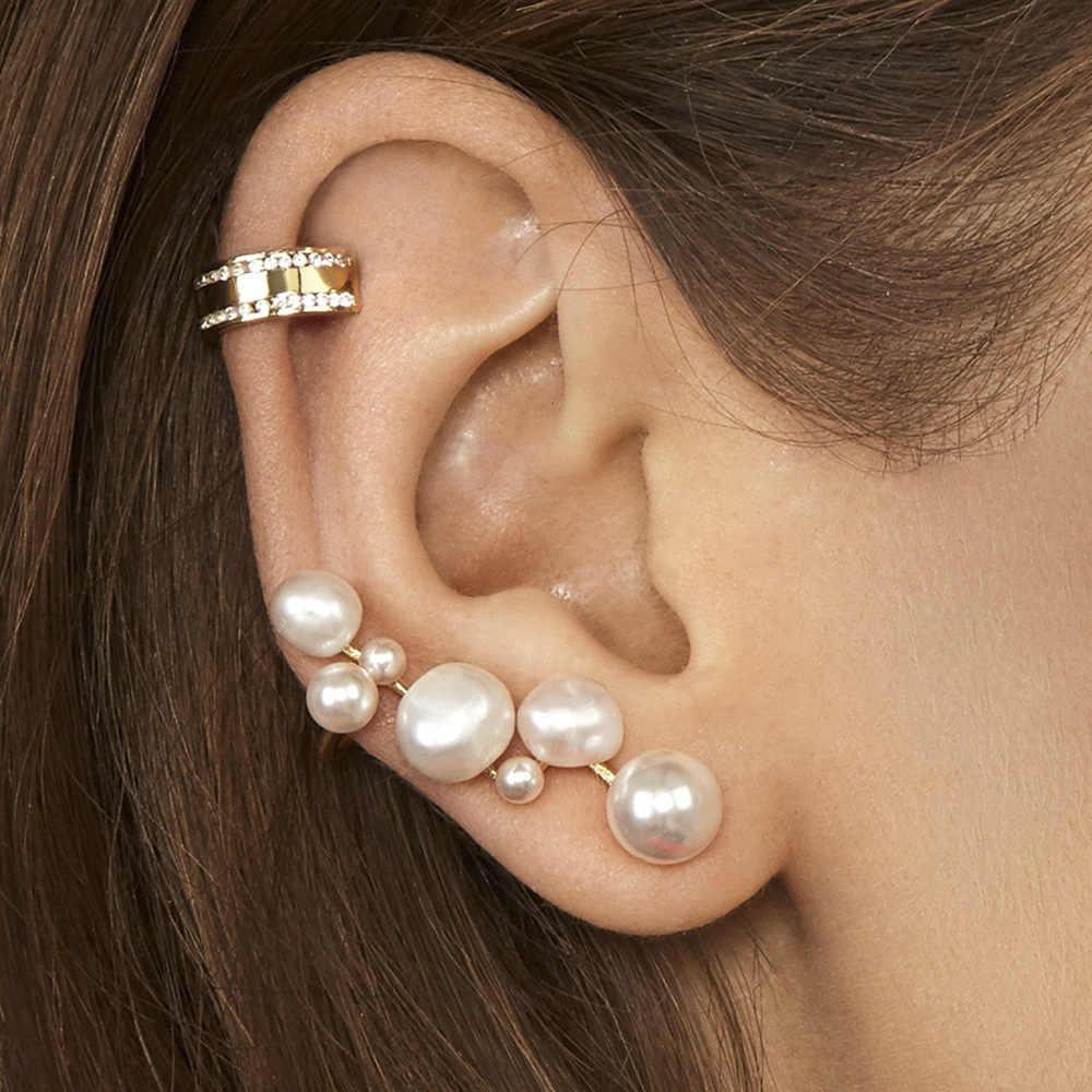 ผู้หญิงสีขาว/สีดำไข่มุกต่างหูขนาดใหญ่วงกลมรอบโลหะทอง Hoop ต่างหูไนท์คลับเครื่องประดับ