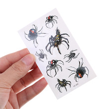 1Pcs Cool Man Spider Waterproof Temporary Tattoo Sticker Halloween Realistic Blood Injury Scar Spider OWL Fake Tattoo Sticker(China)