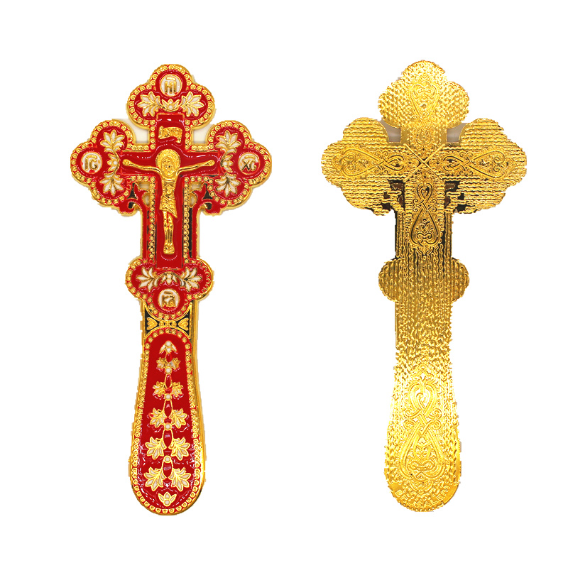 Orthodox Cross Prayer Cristo Enamel Jesus Christ Decoration Home Ornament  Red