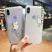 Cute Japan anime Moomin phone case for iphone x xr xs max 7 8 6 s plus cartoon Fat hippo Colorful edges silicon clear Soft cover