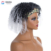 Headband Curly Brown Hair Wig-Grey Synthetic-Wigs American-Wrap Heat-Resistant Ombre