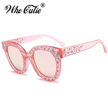 WHO CUTIE 2018 Embellished Square Pink Star Stud Sunglasses Women Brand Designer