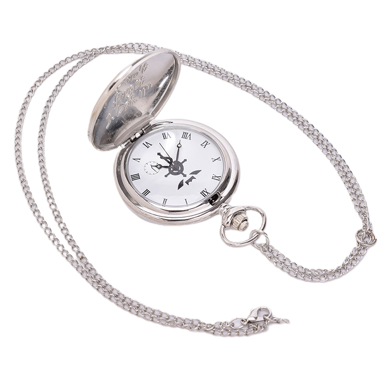 New Full Metal Alchemist Silver Watch Pendant Men's Quartz Pocket Watches Japan Anime Necklace Children Boy