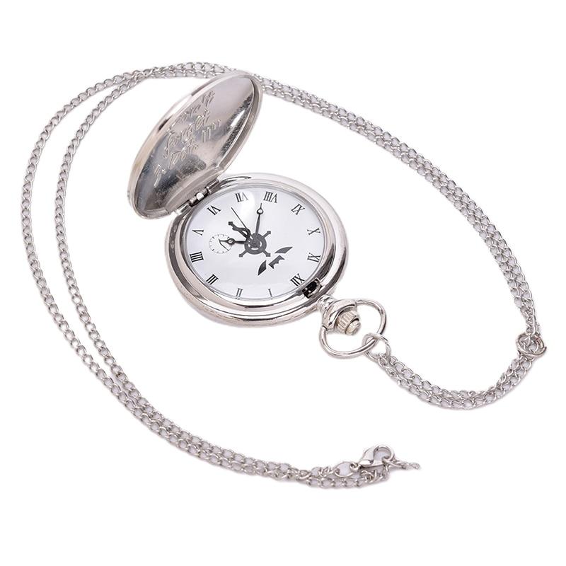 New Full Metal Alchemist Silver Watch Pendant Men's Quartz Pocket Watches Japan Anime Necklace Children Boy