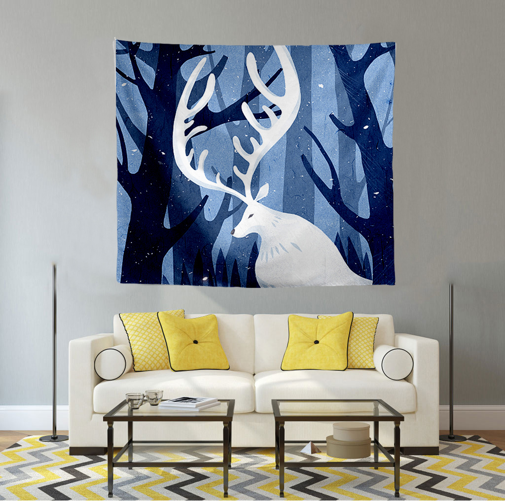 Tapestry wall hanging decoration Nordic elk tapestry tablecloth home picture Printed