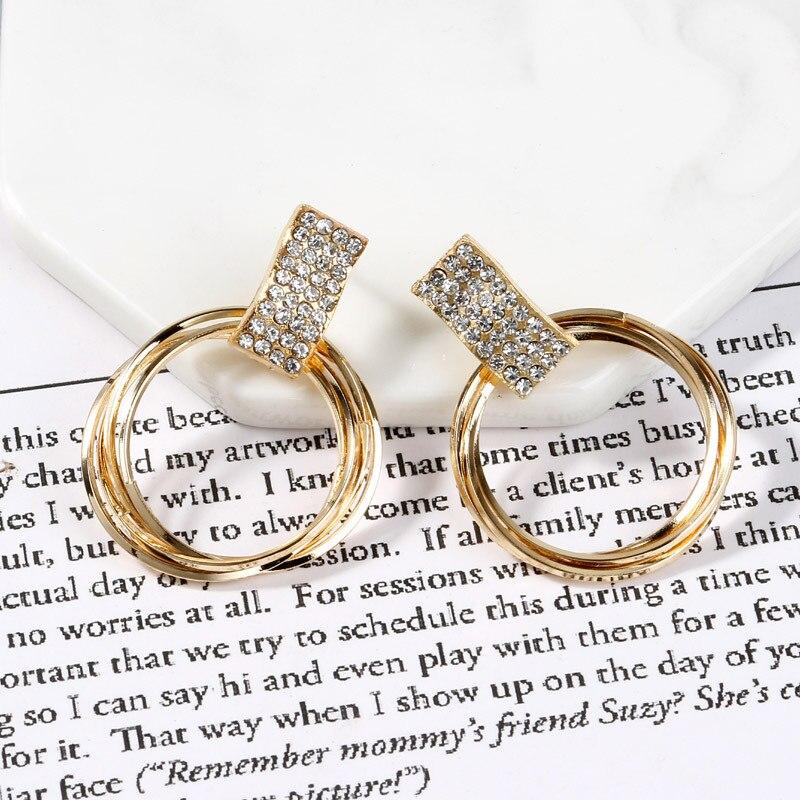 Дизайн модные Висячие Серьги Геометрические круглые блестящие стразы серьги женские ювелирные изделия - Окраска металла: Gold