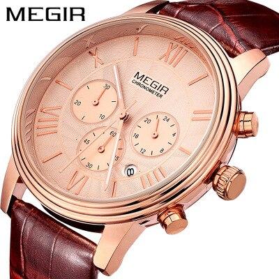 MEGIR Top Brand Original Watch Men Luxury Leather Clock Watches  Waterproof Shock Wristwatch
