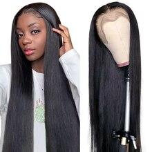 Aircabin pelucas de encaje frontal para mujeres negras, 30 pulgadas, 13x4, pelo humano liso brasileño, Remy, sin pegamento, parte profunda, 4x4, peluca con cierre de encaje
