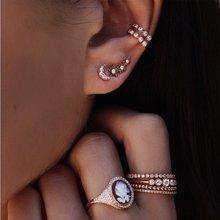 Дизайн бренд Звезды Луна Циркон комбинация серег набор благородный минималистичный подарок для женщин. Цельный