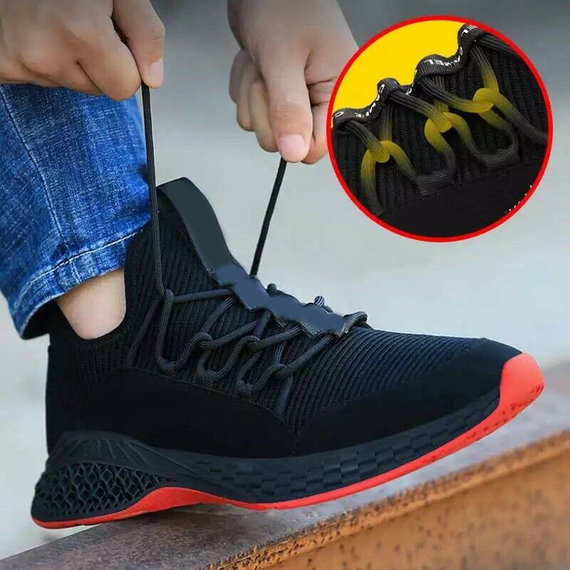 Safety Work Shoe Footwear with Steel Tip Breathable Anti-slip Puncture Proof for Men @M23