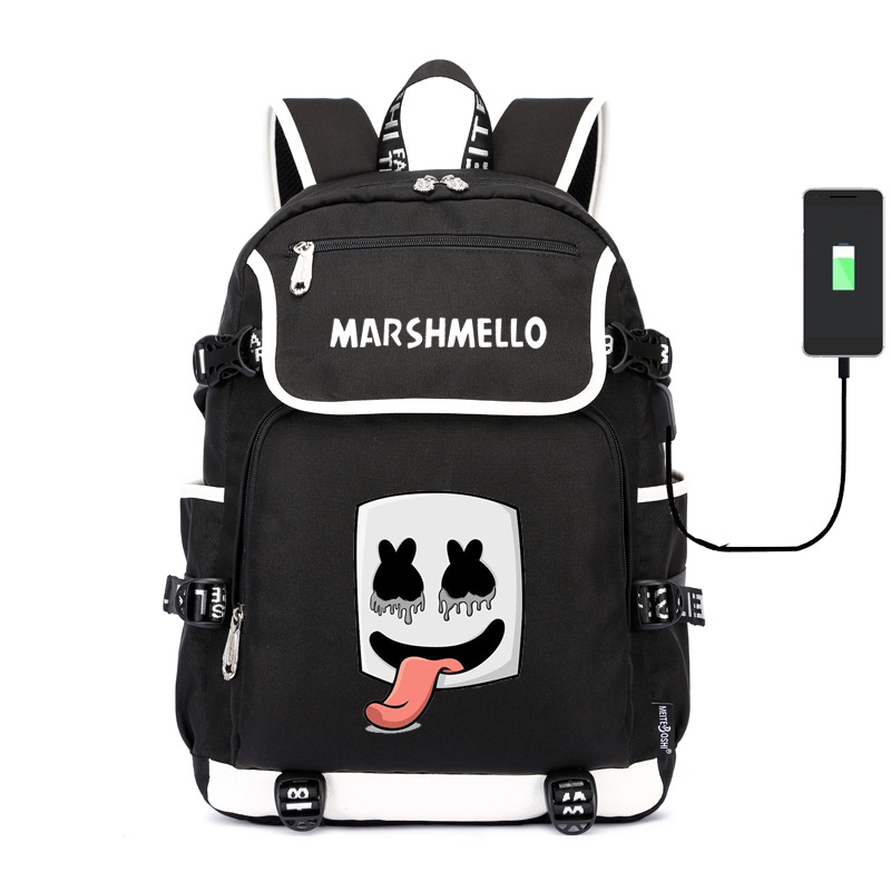Marshmello School Bag Cotton Candy Usb Shoulder Backpack Electronic Music Cross-border For A Generation Of Fat Wholesale Order D