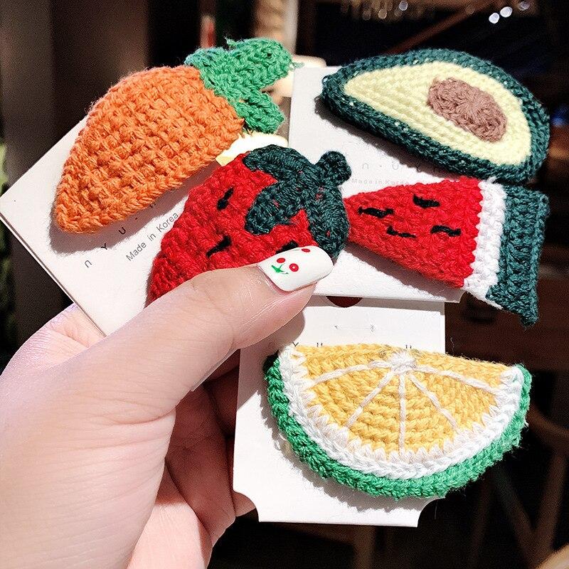 1PC Winter Girls Handmade Knitting Fresh Fruit Hairpins Children Hair Clips Barrettes Kids BB Clips Hair Accessories Headwear