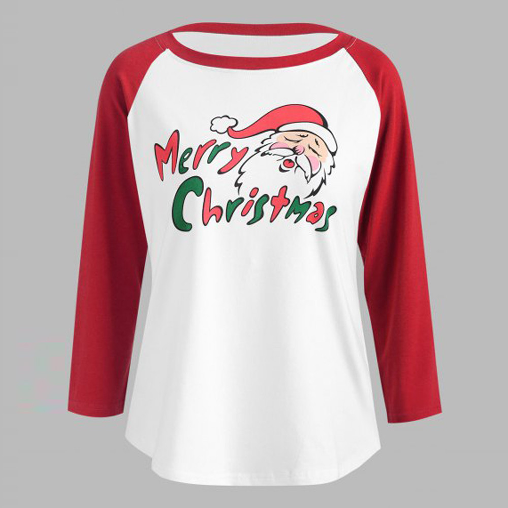 Autumn and winter Womens Long Sleeve Santa Claus cartoon Print Round Neck Blouse Loose Tops Pullovers Celebrate Christmas