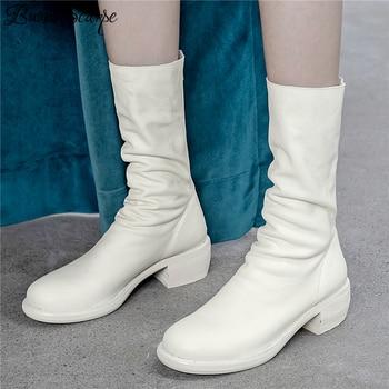Buono Scarpe Genuine Leather Pleated Fashion Boots Brand Designed Zipper Boots Chunky Botas Fenimina Leather Shoes Zapatos Mujer