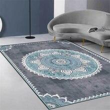 Tapete mandala azul cinza, tapete vintage para quarto da europa, simples, de cabeceira, estilo étnico, nórdico, para corredor