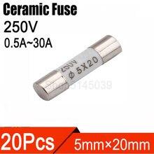 20 Pcs 5×20mm Fast Blow Ceramic fuse Fuse 250V 0.5A 1A 2A 2.5A 3A 3.15A 4A 5A 6A 6.3A 8A 10A 15A 20A 25A 30A Ceramic Fuse