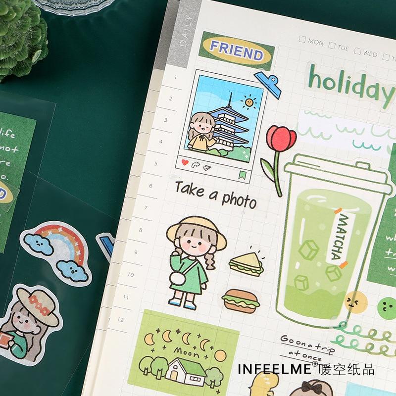 Mohamm 2 Pcs/pack Kawaii Cartoon Mini Korea Sticker Flakes Scrapbook Paper Sticker Stationery Accessories School Supplies