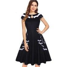 JIEZuoFang Gothic Summer Dress Women Vestidos Black Bat Embr