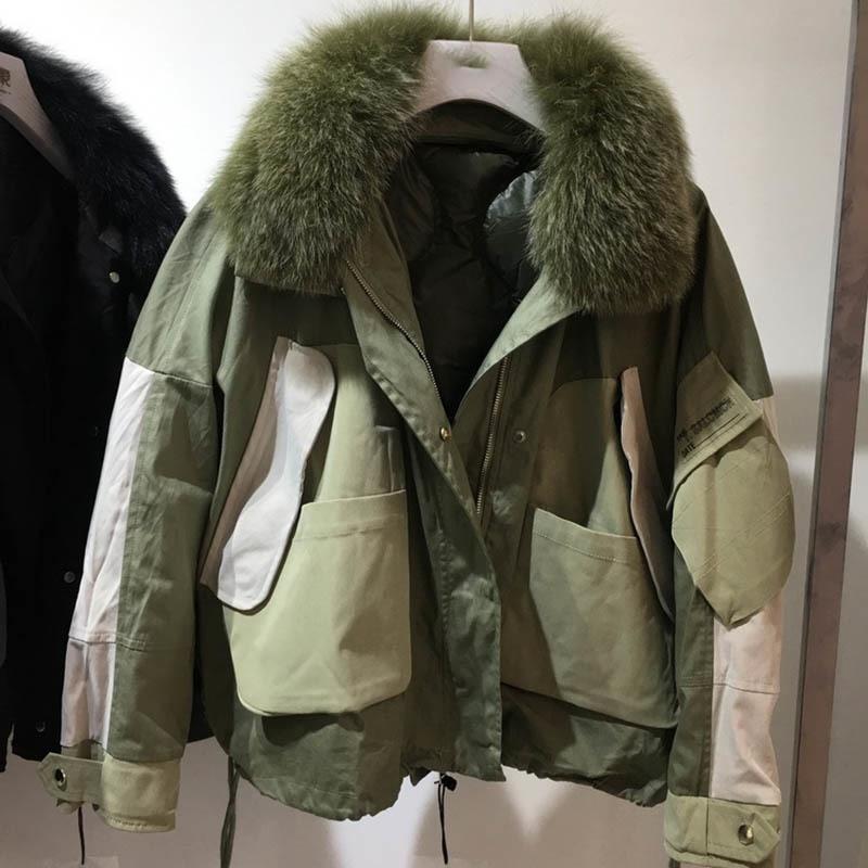 [EWQ] 2020  Autumn Winter New Pattern With Fox Fur Collar Long Sleeve Thick Streetwear Coat Women Fashion Tide AH82906