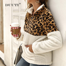 Autumn Winter Women Stitching Leopard Print Coat Lady Casual Warm Lapel Neck Long Sleeve Coat 2019 Contrast Coat With Zipper D30 plus lace contrast sleeve coat
