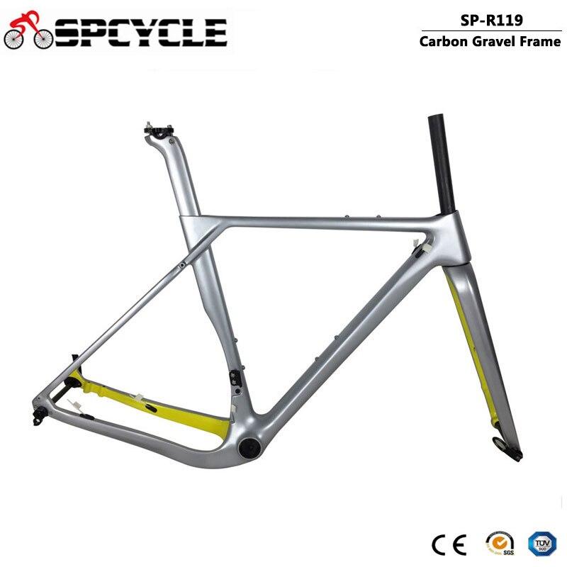 Spcycle 2020 New Carbon Gravel Bike Frame 700*40C Carbon Cyclocross Bicycle Frame Disc Brake Road Frameset 49/52/54/56cm