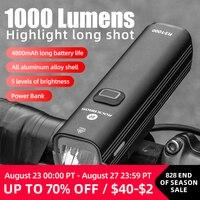 ROCKBROS bisiklet ışığı 1000 lümen 4800mAh bisiklet far güç banka el feneri gidon USB şarj MTB yol bisiklet vurgulamak