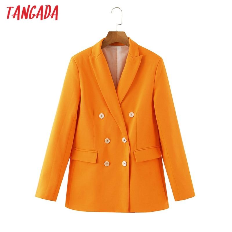 Tangada Women Orange Blazer Buttons Long Sleeve 2020 Autumn Winter Ladies Work Blazer Suits SL502
