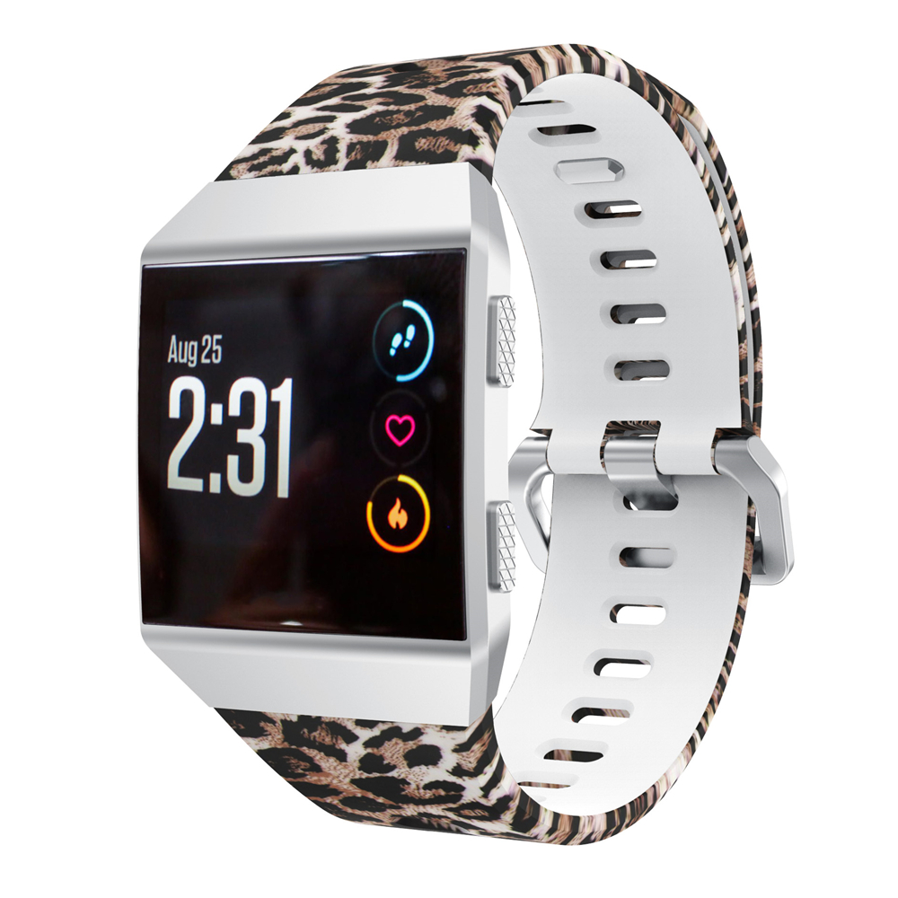 Yayuu Printed Pattern Silicone Wrist Strap Compatible For Fitbit Ionic Sports Watch Band Adjustable Wristband for