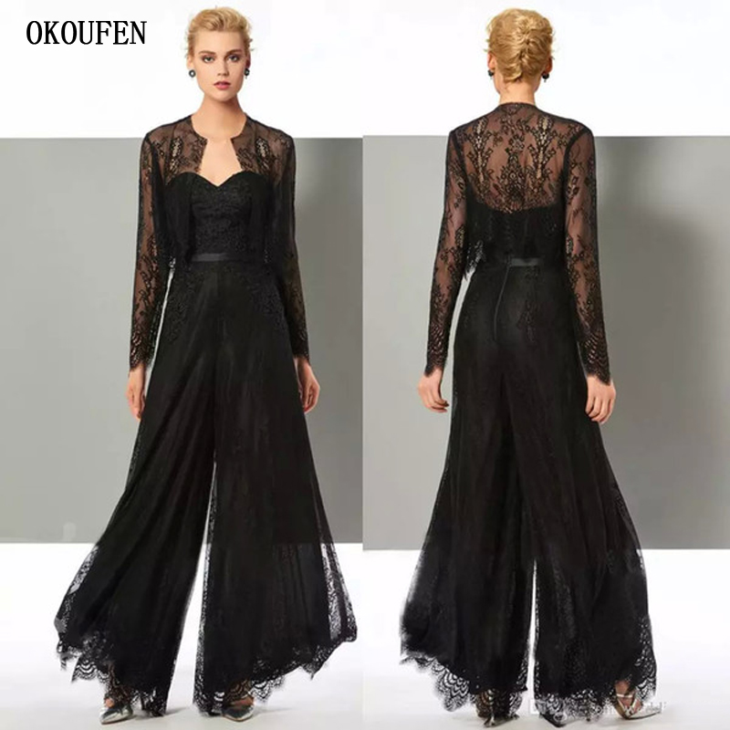 Chic Black Lace Jumpsuit Mother Of The Bride Dresses Jacket Sleeves Wide Leg Pants Wedding Guest Dress Mothers Of The Groom Gown