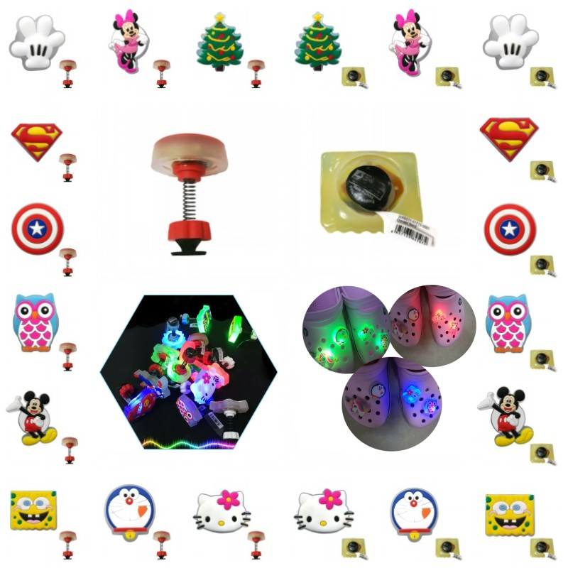 1pcs Unique LED Shoe Charms Avenger Mickey Shoes Accessories Christmas Tree Jibz Standing LED Croc Charms Kids Birthday Gifts
