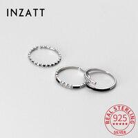 INZATT-anillo ajustable redondo de circón esmaltado negro para mujer, Plata de Ley 925 auténtica, Punk, accesorios de joyería delicada, envío directo