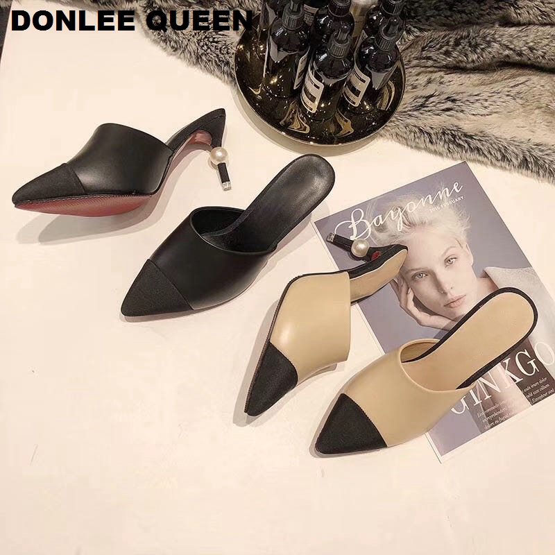 2020 Pointed Toe Thin High Heel Slippers Women Fashion Pearl Heel Mixed Colors Mule Shoes Women Sandals Slip On Slides For Party