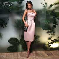 Traugel Strapless Mermaid Cocktail Dress Simple Sleeveless Backless Knee Length Satin Short Prom Party Gowns for Women Plus Size