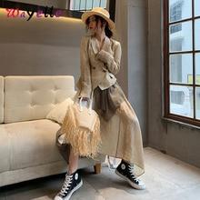 2019 Autumn Winter Half-body Skirt Two Piece Suit Women Lapel Long Sleeve Irregular Khaki Loose Suits For