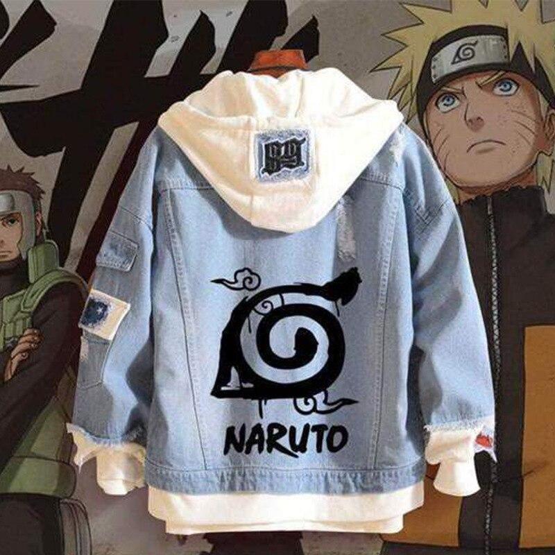 Anime Hole Denim Jacket NARUTO Chaqueta Hoodie Man Woman Naruto Cosplay Costume Pure Cotton Fashion Casual Coat