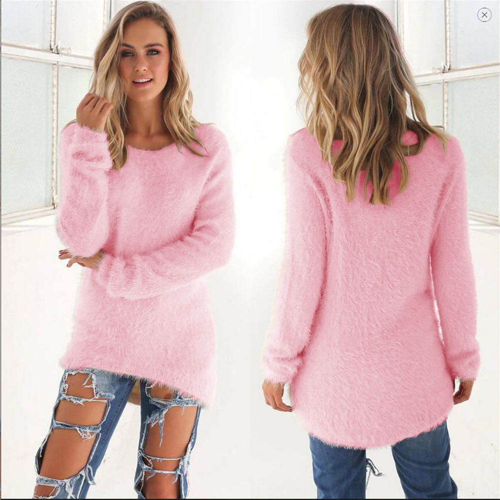 Fashion Solid Pullover Sweater Women Autumn Casual O-neck Long Sleeve Soft Fleece Warm Knitted Tops Elegant Cotton Wool Sweater