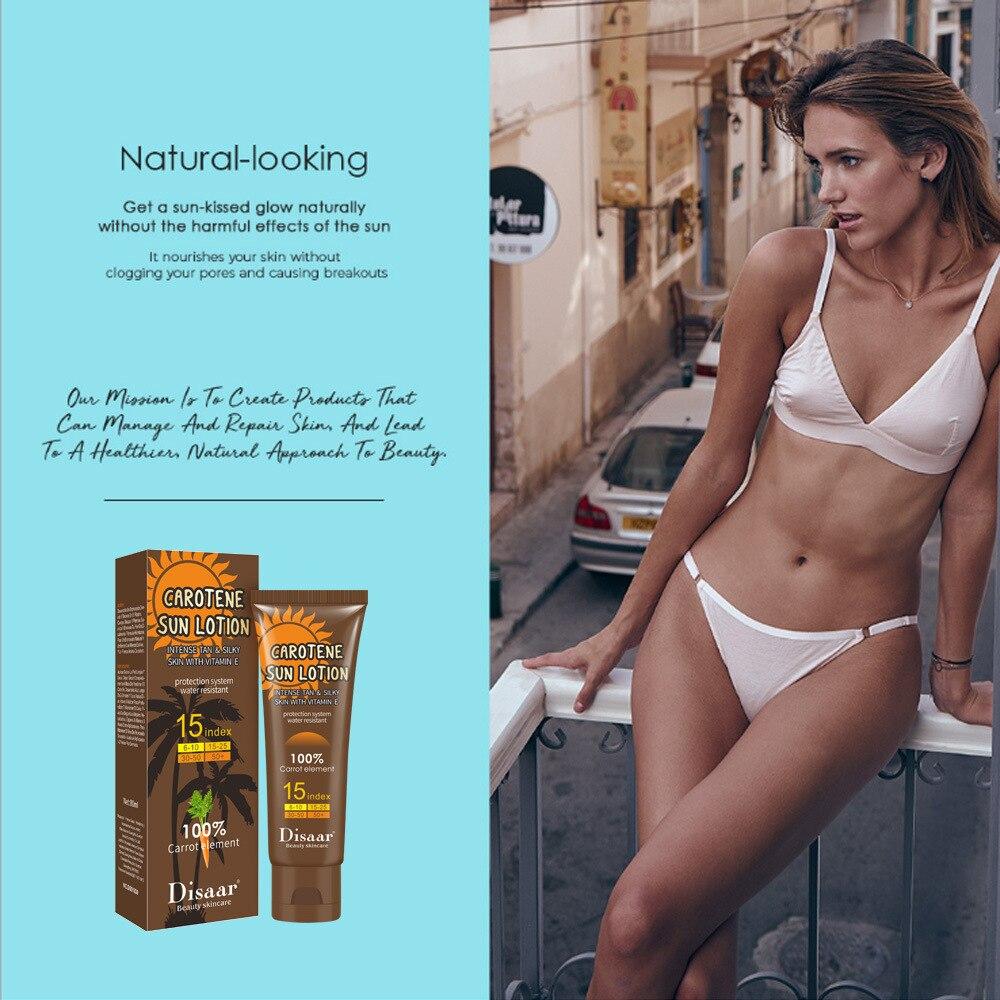 Carotene Sun Lotion Long Lasting Sunless Tanning Self Organic Self Tanner Bronze Fake Tan Body Lotion 80g 2