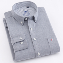Cotton Shirts Pocket Long-Sleeve Oxford Single-Patch High-Quality Thick Regular-Fit Casual