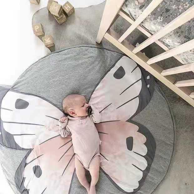 H7156d3ba618a4b55997794d0ba146786d Ins Cartoon Baby Play Mats Pad Toddler Kids Crawling Blanket Round Carpet Rug Toys Mat For Children Room Decor Photo Props