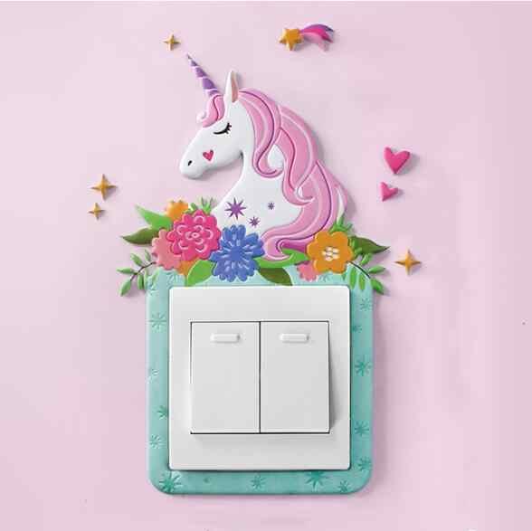 Cubierta de flamenco y unicornio Animal, decoración de dibujos para habitación, interruptor de encendido-apagado de silicona para pared 3D, interruptor de luz luminosa, pegatina de pared