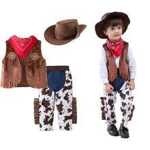 Costume de Cowboy occidental pour enfants, ensemble complet, Cool, Cosplay, pour Halloween, anniversaire, fête