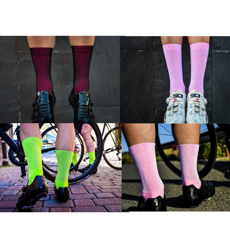 Sports Cycling Socks Men Women Black Surface Pink Inside Running Road Bike Socks Two in One Double Color Calcetines Ciclismo