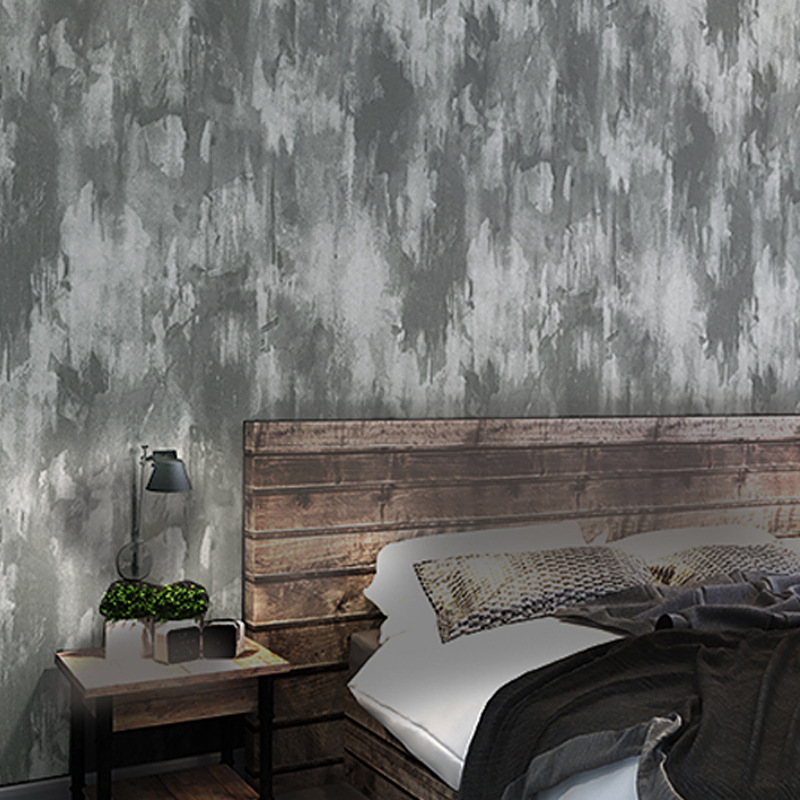 Vintage Industrial-Style Gray Cement Wallpaper Plain Color Mottled Solid Color Non-woven Wallpaper Hotel Clothing Store Office