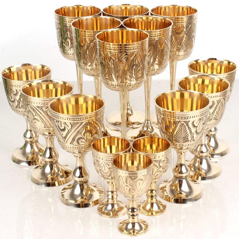 35/120/180ml Retro Copper Wine Glass Classical Wine Cup Handmade Sculpture Goblet Household Barware Wine Glass Pattern Random