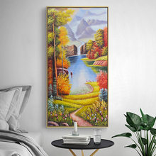 Exquisite Forest Scenery Oil Painting Water Wealth Nordic Wall Pictures Living Room Decor Scandinavian Home Decor(China)
