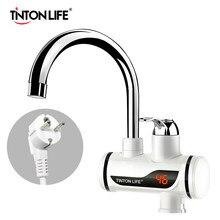 Tankless instantânea aquecedor de água elétrico display temperatura de aquecimento de água cozinha quente 3000w aquecedor de água com led plug ue