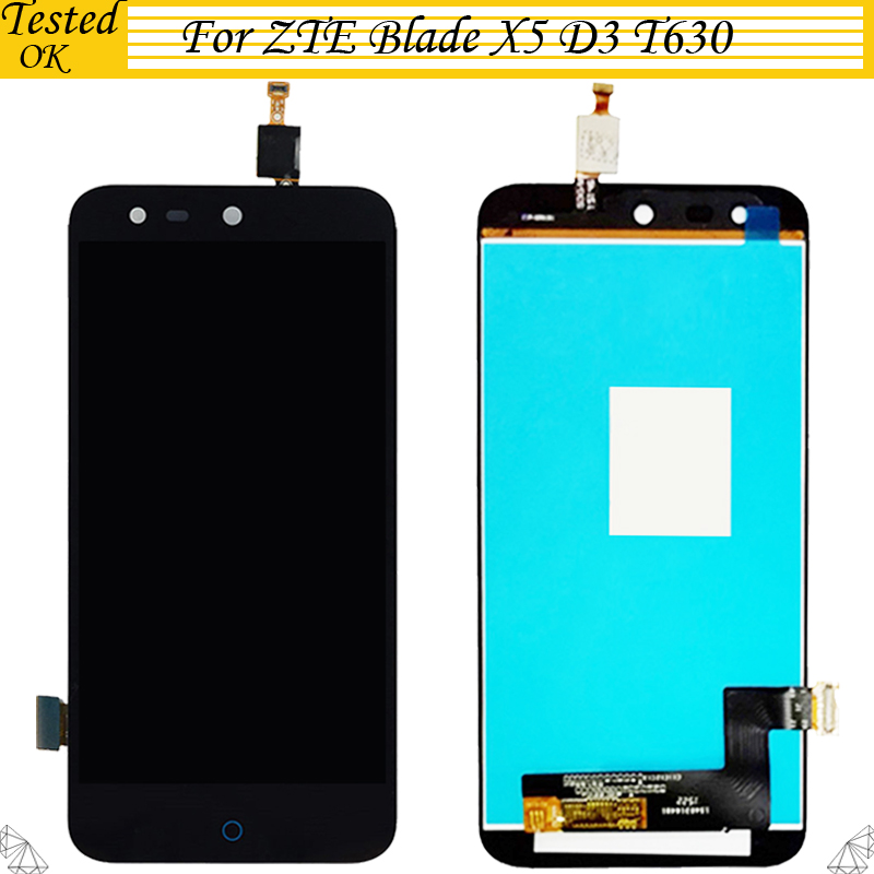 5 inch For <font><b>ZTE</b></font> Blade X5 / Blade D3 <font><b>T630</b></font> LCD Display + Touch Screen Digitizer 100% Tested Working Assembly Replacement image