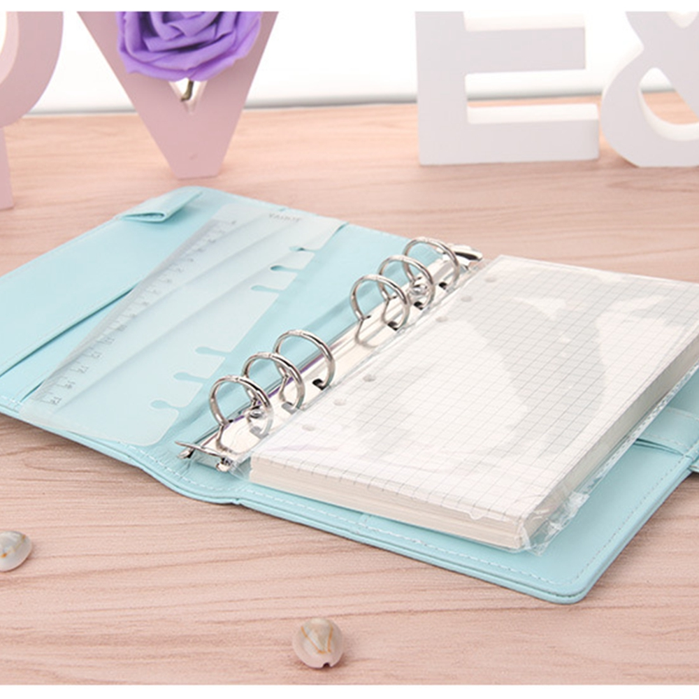 Cute A5/a6 Leather Loose Leaf Refill Notebook Cover Spiral Binder Macaron Color Kawaii Stationary Planner Book Replacement Cover